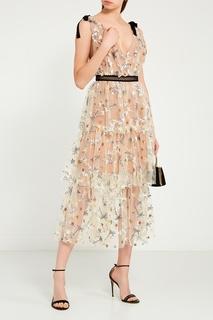 Платье с цветочной вышивкой пайетками Self Portrait