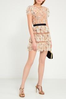 Платье-мини с цветочной вышивкой Self Portrait