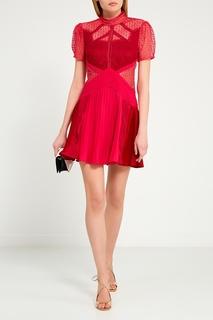 Красное комбинированное платье Self Portrait