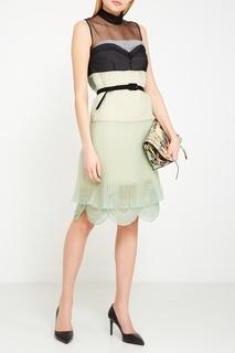 Зеленое комбинированное платье с плиссировкой Prada