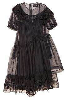 Черное платье из сетки с вышивкой Simone Rocha