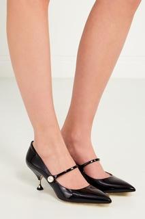 Черные лакированные туфли Miu Miu