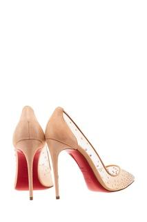 Бежевые туфли с кристаллами Follies Strass 100 Christian Louboutin