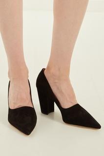 Замшевые черные туфли Miu Miu