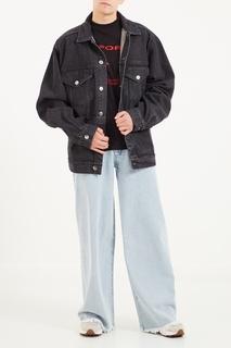 Голубые широкие джинсы с бахромой Jacob Kane