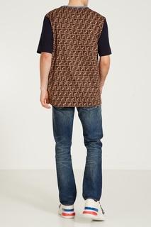 Сине-коричневая футболка Fendi x FILA