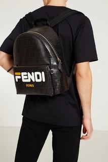 Черный рюкзак с логотипами Fendi x FILA
