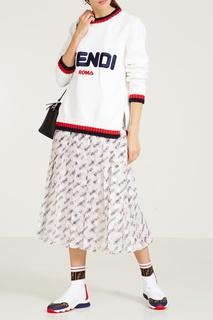 Белый джемпер с вышивкой Fendi