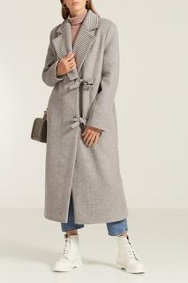Серое пальто с аппликациями на спине КАТЯ ДОБРЯКОВА