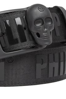 Черный ремень с логотипами и черепом Philipp Plein