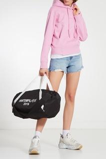 Черная сумка с контрастным принтом Mo&Co
