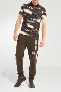 Черно-белая хлопковая футболка с принтом Dirk Bikkembergs