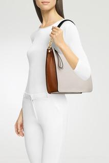 Бежевая кожаная сумка Diva Furla