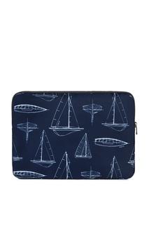 Синяя сумка-папка с узорами Furla
