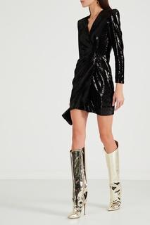 Черное коктейльное платье с пайетками Maje