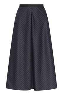 Синяя юбка-трапеция из шерсти с узором в полоску Antonio Marras