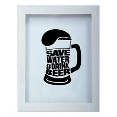 Копилка для пивных крышек SAVE WATER DRINK 22x26 Белый KD-022-115 Дубравия