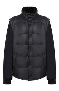 Кожаная пуховая куртка с меховой отделкой воротника Brioni
