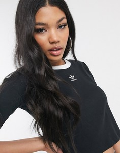 Короткая черная футболка с трилистником adidas Originals-Черный