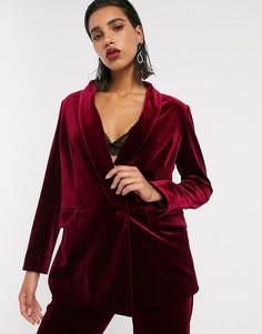 Бархатный строгий пиджак с шалевым воротником ASOS EDITION-Красный