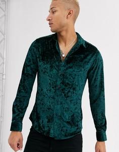 Темно-зеленая эластичная рубашка из мятого бархата ASOS DESIGN-Зеленый