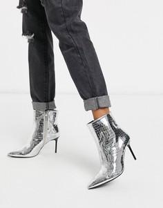 Ботинки серебристого цвета на каблуке Bershka-Серебряный