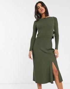 Трикотажное платье миди с длинными рукавами Ted Baker-Зеленый