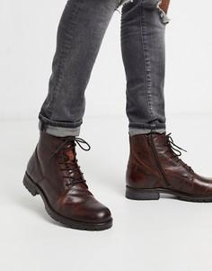 Кожаные ботинки в стиле милитари Jack & Jones-Коричневый
