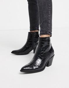 Черные ботинки в стиле вестерн на каблуке New Look-Черный