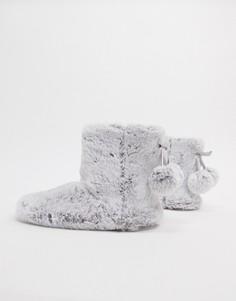 Серые слиперы в виде ботинок из искусственного меха New Look-Серый