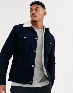 Темно-синяя вельветовая куртка с подкладкой из искусственного меха Bershka-Темно-синий