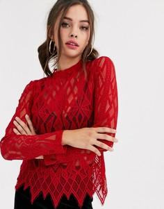 Красная полупрозрачная кружевная блузка Morgan-Красный