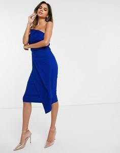 Синее платье-бандо миди Vesper-Синий