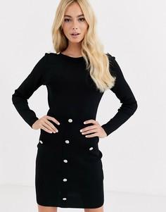Черное облегающее платье с пуговицами Morgan-Черный