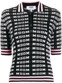 MSGM рубашка-поло вязки интарсия с логотипом