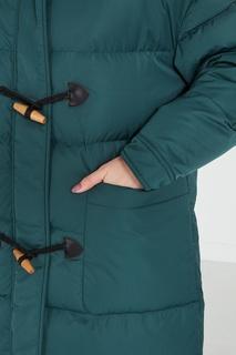 Стеганое бирюзовое пальто с капюшоном Akhmadullina Dreams