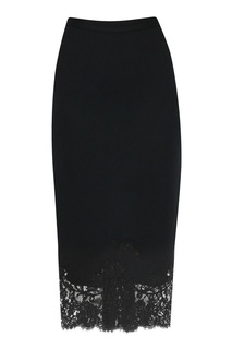 Черная юбка с кружевом Ermanno Scervino