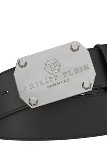 Черный ремень с серебристой пряжкой Philipp Plein