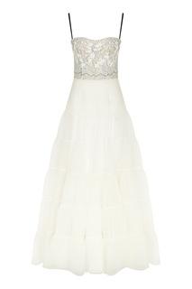 Платье из органзы с кружевной вышивкой Yana Dress