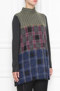Серый свитер с узором в клетку Marina Rinaldi
