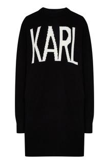 Черный джемпер с контрастной надписью Karl Lagerfeld