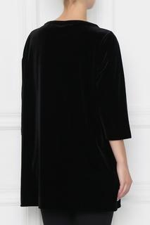 Черный удлиненный джемпер из бархата Marina Rinaldi