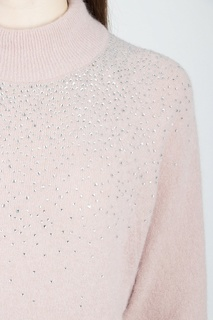 Светло-розовый джемпер со стразами Blumarine
