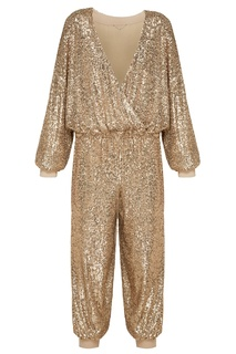 Свободный золотистый комбинезон с пайетками Yana Dress