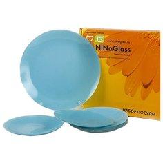 NinaGlass Набор тарелок Палитра 85-125 7 шт. лазурный