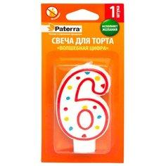Paterra Свеча для торта Волшебная цифра 6 белый/красный