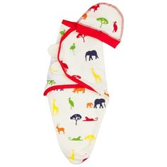 Многоразовые пеленки ДО (Детская одежда) кокон на липучках + шапочка, р. 68 красный