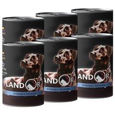 Корм для собак Landor (0.4 кг) 6 шт. Adult Dog Lamb and Salmon для собак всех пород (банка)