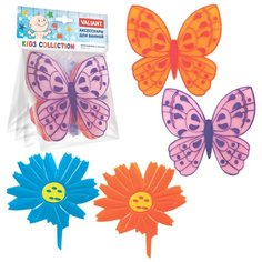 Коврик для ванной Valiant Бабочки-Цветочки оранжевый/фиолетовый/голубой