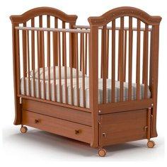 Кроватка Nuovita Perla (качалка), продольный маятник темный орех